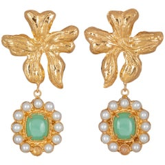 Christie Nicolaides Gold Isabella Earrings in Green Agate