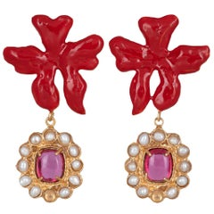 Christie Nicolaides Gold Isabella Earrings in Red Enamel & Pink Quartz