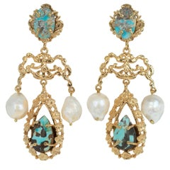 Christie Nicolaides Gold Liliana Earrings in Turquoise & Pearl