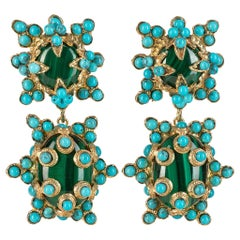 Christie Nicolaides Gold Lucia Earrings in Malachite & Turquoise