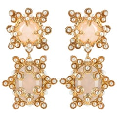 Christie Nicolaides Gold Lucia Earrings in Pink Quartz & Pearl