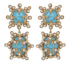 Christie Nicolaides Gold Lucia Earrings in Turquoise & Pearl