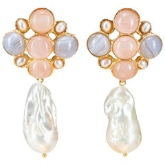 Christie Nicolaides Gold Margot Earrings in Pale Pink & Pearl