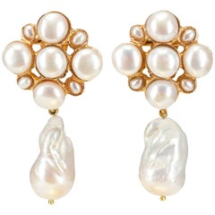 Christie Nicolaides Gold Margot Earrings in Pearl