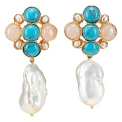 Christie Nicolaides Gold Margot Earrings in Pink, Turquoise & Pearl