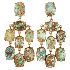 Christie Nicolaides Gold Martina Earrings in Natural Turquoise
