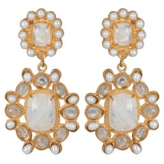 Christie Nicolaides Gold Mirabella Earrings in Moonstone & Pearl