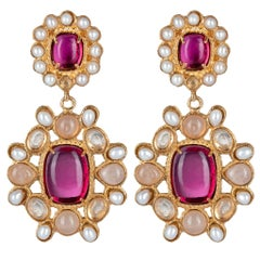 Christie Nicolaides Gold Mirabella Earrings in Pink and Clear Quartz & Pearl