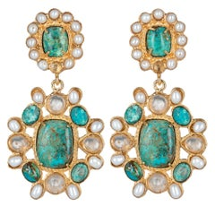 Christie Nicolaides Gold Mirabella Earrings in Turquoise & Pearl