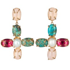 Christie Nicolaides Gold Violante Earrings in Pink, Turquoise & Pearl