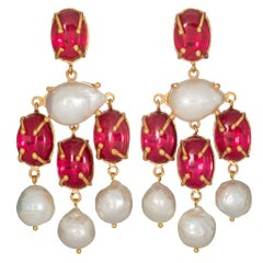 Christie Nicolaides Gold Vittoria Earrings in Pink Quartz & Pearl