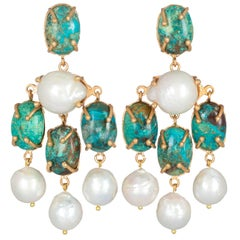 Christie Nicolaides Gold Vittoria Earrings in Turquoise and Pearl