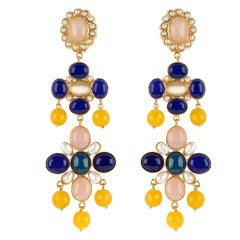 Christie Nicolaides Julietta Earrings in Gold with Amethyst and Lapis Lazuli