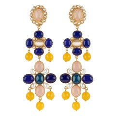 Christie Nicolaides Julietta Earrings in Gold with Lapis Lazuli & Rose Quartz