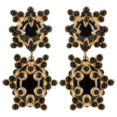 Christie Nicolaides Lucia Earrings in Gold with Black Agate