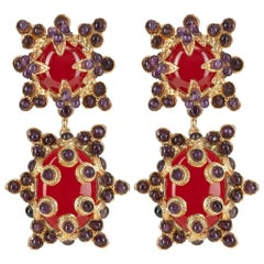 Christie Nicolaides Lucia Earrings in Gold with Jade with Amethyst