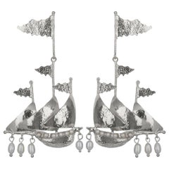 Christie Nicolaides Silver Capitana Earrings in Pearl