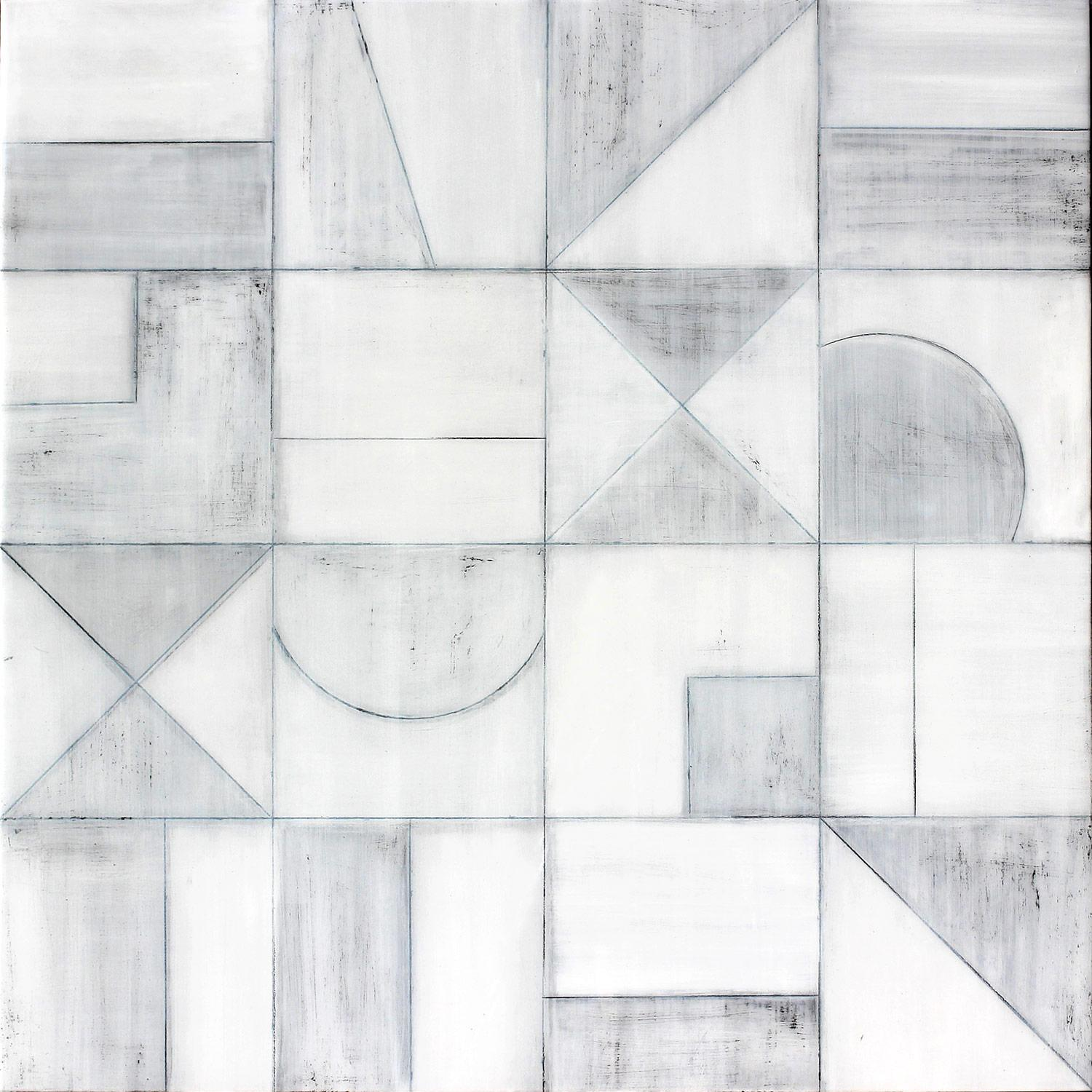 """""""Geometric 3077"""" Abstract Mixed Media Layered Composition on Baltic Birch Panel"""