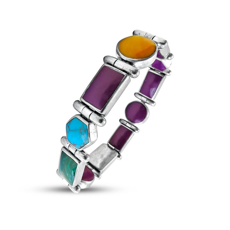 Christin Wolf  St. Silver  Reversible  Multi Stones  Weight=  42gr Width= 10mm Thickness= 5MM