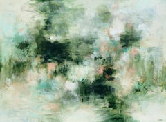 Green Demijohns, Christina Doelling Large Abstract Horizontal Painting