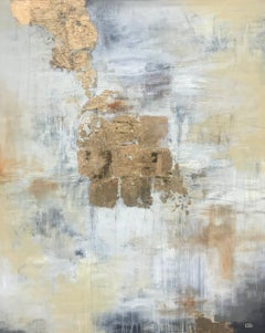 Treasures Unearthed, Abstract Mixed Media and Gold Leaf on Canvas Painting
