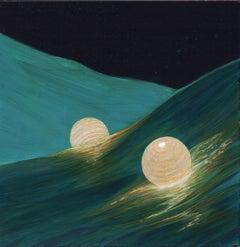 Night Waves - Paper Lanterns on Wayward Seas with Backlit Waves Acrylic on Panel