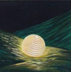 Ocean Carrier - Illuminated Paper Lantern on  Wavy Seas, Acrylic on Panel