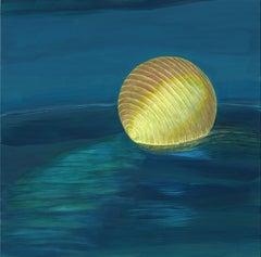 Ocean Rest - Illuminated Paper Lantern on Vivid Blue Water, Acrylic on Panel