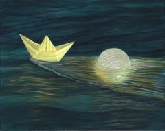 Paper Boat - An Illuminated Paper Boat and a Paper Lantern Floating on the Ocean