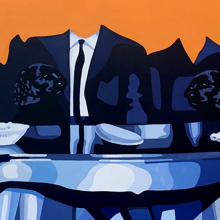 Amnesia 1 - surreal painting - Orange Interior Painting by Christina Holdgaard