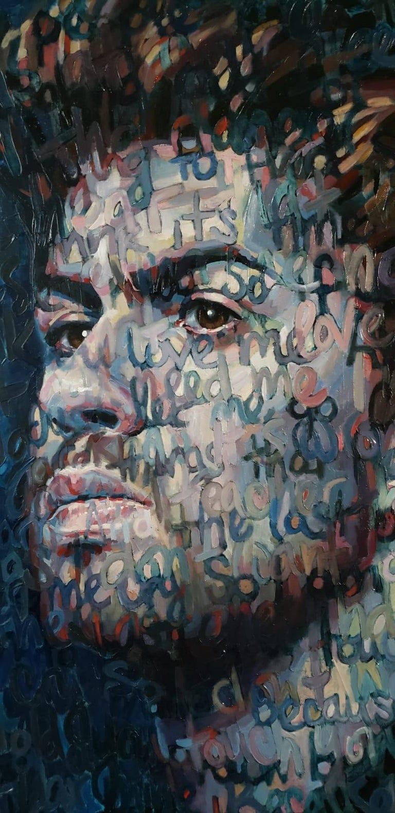 Large Oil Painting Titled: George Michael  - Black Figurative Painting by Christina Major