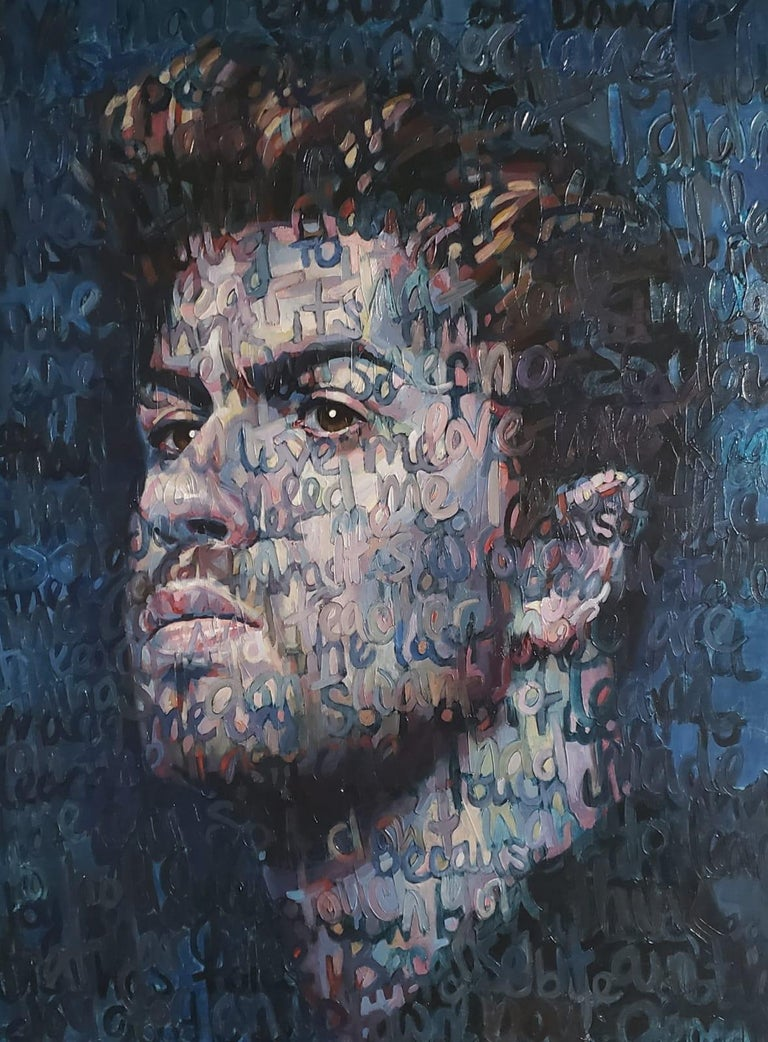 Christina Major Figurative Painting - Large Oil Painting Titled: George Michael