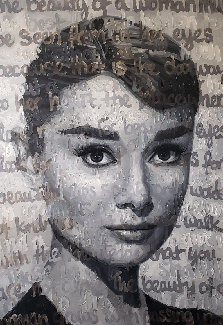 Christina Major Figurative Painting - Original Oil On Canvas Painting Titled: Audrey
