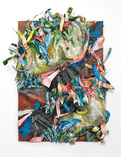 Sculptural abstract painting in red blue and green with repurposed materials