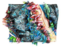 Mixed Media Sculptural Abstract in blue, black and pink by Christina Massey