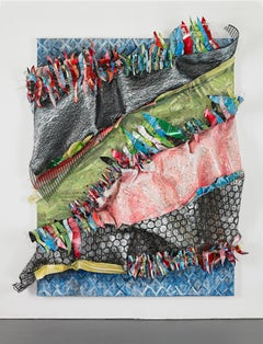 Large Sculptural Organic Abstract in pink, blue and green, repurposed materials