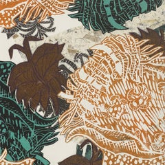 Abstract botanical linocut collage in orange and teal by Christina Massey