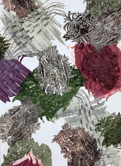Abstracted botanical monotype collage in burgundy and green by Christina Massey