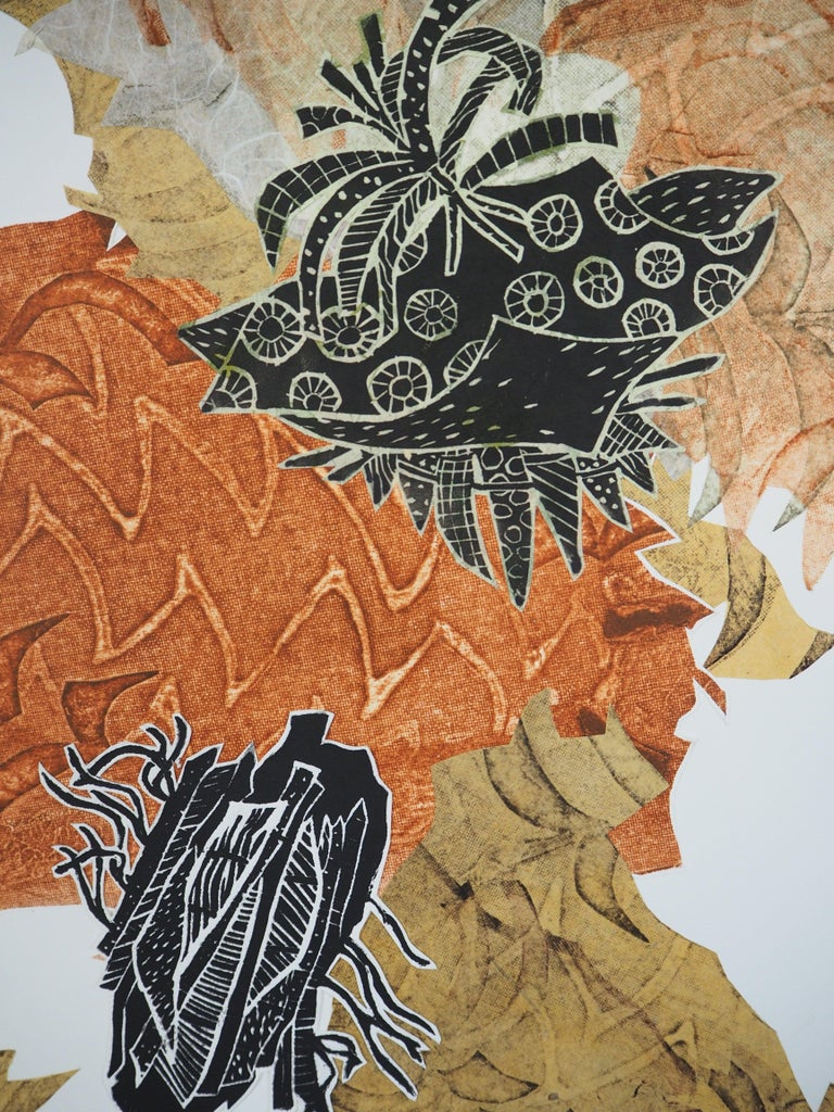 Carbonation Collection: pumpkin, Hand Printed Work, Linocut For Sale 1