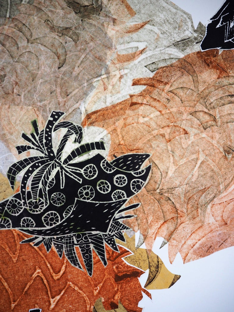 Carbonation Collection: pumpkin, Hand Printed Work, Linocut For Sale 2