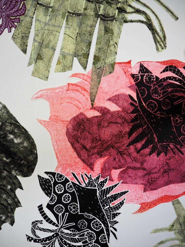 Carbonation Collection: romance, Hand Printed Work, Linocut For Sale 2