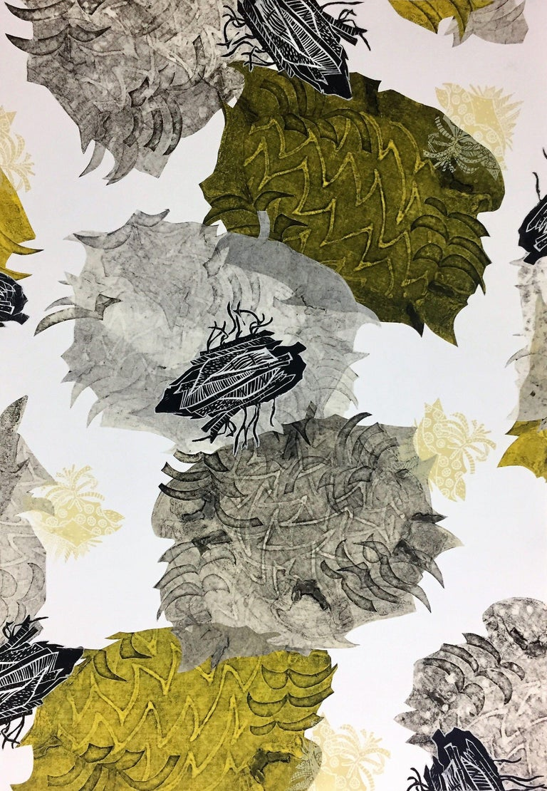 Made from a combination of collagraph, linocut, silkscreen and chine colle printmaking techniques, which is a fancy way of saying it's a collage of monoprints. This series of monoprint collages were created while participating in the SIP Fellowship