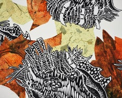 Monoprint Collage: Autumn Buzz