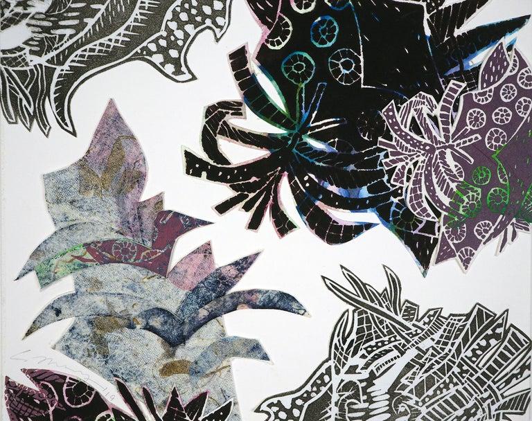 Monoprint Collage: Blue Lagoon - Mixed Media Art by Christina Massey