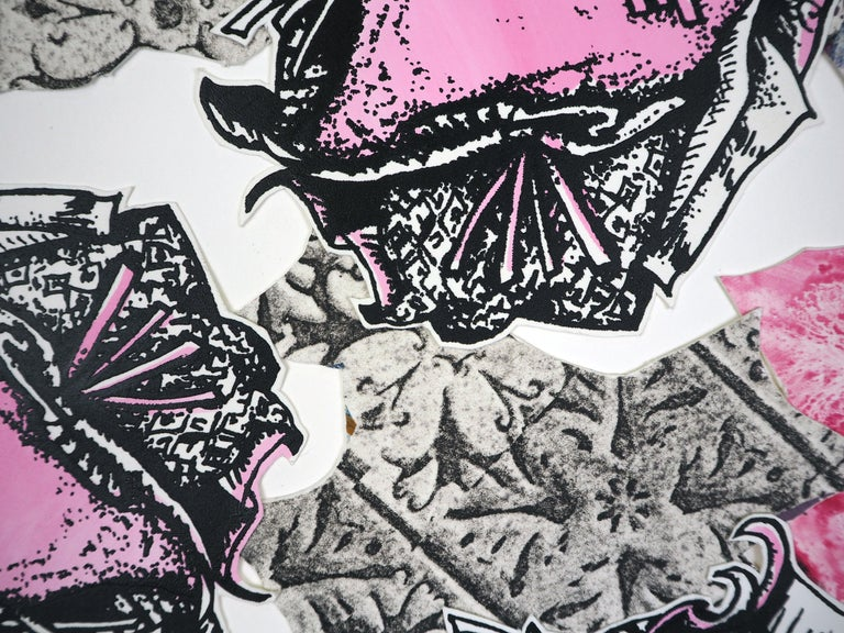 Monoprint Collage: Pink Persuasion - Print by Christina Massey