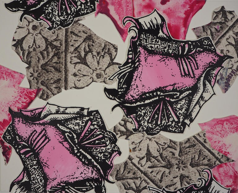 Christina Massey Abstract Print - Monoprint Collage: Pink Persuasion