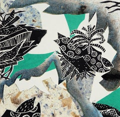 Monoprint Collage_Teal Black