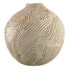 Christina Muff, Large Hand Modelled Sculptural Vase with Carvings