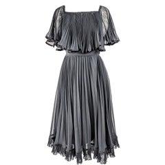 Christina Stambolian Vintage Pleated Chiffon Dress