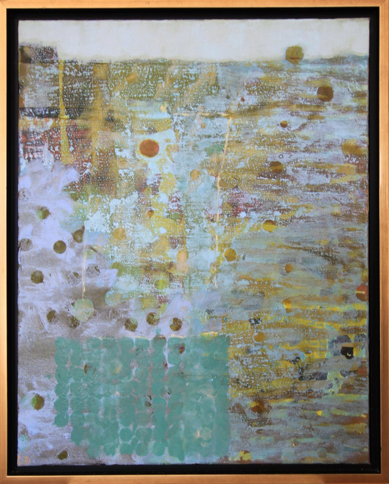 'Head Above Water', Contemporary Geometric Abstract Mixed Media Oil Painting - Gray Abstract Painting by Christine Averill-Green